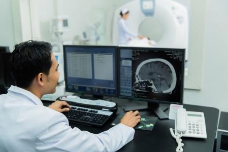 scientist Scanning the brains Ct scan